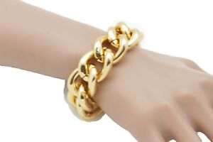 New Women Gold Metal Chunky Chain Thick Links Fancy Bling Fashion Dressy Jewelry