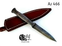 CUSTOM HAND FORGED DAMASCUS STEEL BOOT KNIFE W/ DAMASCUS HANDLE - AJ 466
