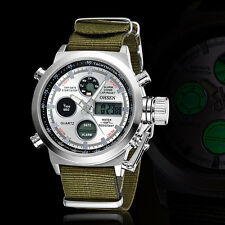 OHSEN Men's Tactical Military Army Nylon Stopwatch Sport Quartz Wrist Watch Move