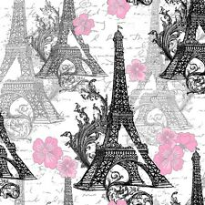 Fabric Paris Eiffel Tower Black with Pink Flowers on White Cotton 1/4 Yard