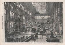 OLD ANTIQUE 1865 PRINT PENN'S MARINE ENGINE FACTORY GRENWICH MACHINE SHOP B170