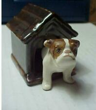 Vintage Ceramic Bull Dog + Dog House