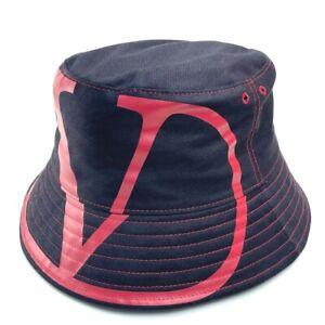Valentino Garavani apparel V logo Bucket hat hat cotton/Nylon Navy Based Red