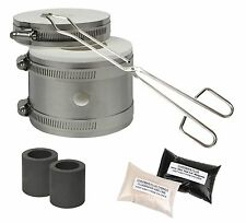 Kwik Kiln Gold & Silver Melting Kit Tongs Crucibles Mini Propane Gas Furnace Set