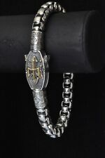 Konstantino Men's Trident Link Chain Bracelet Sterling Silver Bronze Perseus New