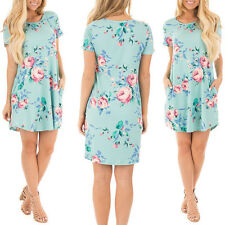 Women Lady Short Sleeve Casual Party Evening Cocktail Flower Short Mini Dress