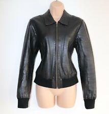 Women's Vintage KAOS By AULUNA Bomber Black 100% Leather Jacket Coat Size UK14