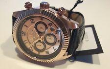 Reloj hombre Lorenz Chrono caja PVD oro Rosa negro 38 mm 100 Montana