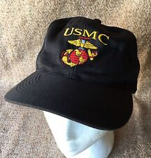 Men's Small Black Strapback Hat USMC Globe & Anchor Embroidered Military Marines