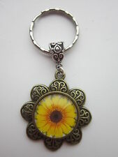 Key ring round glass cabochon bronze sunflower friendship gift