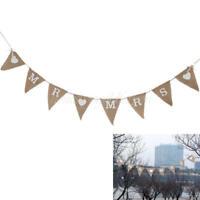 MR & MRS Triangle Wedding Party Decoration Garland Bunting-Banner Handmade Brown