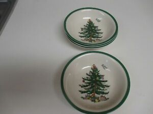 "Spode Christmas Tree Oatmeal Bowls 6"" New Unused NWT Set of 6"