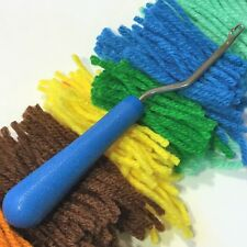 "Rug Latch Hook Blue Tool + Yarn Lot Assorted Multi-Color 2-1/2"" L Crochet Craft"