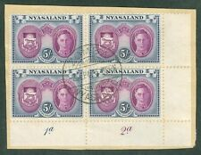 SG 155 Nyasaland 1945. 5/- purple & blue. Lower left corner marginal block...