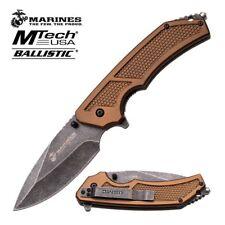 Spring-Assist Folding Pocket Knife Mtech Marines Usmc Tan Tactical Gray Blade