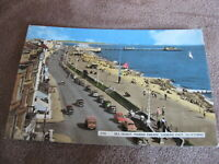 1960s Sussex postcard - marine parade - Worthing - old cars