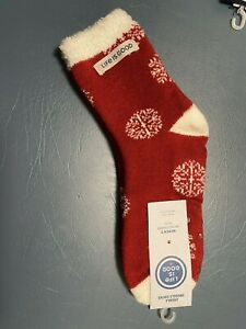 Life is Good Women's Holiday Double Snuggle Red Snowflake No Slip Grip Socks  OS