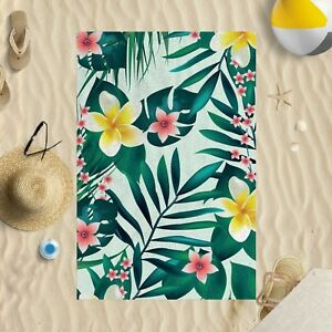 "58""x39"" Tropical Florals Microfibre Beach Towel Sun Bathing Pool Swim"