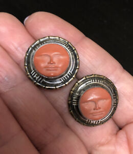 Signed Tabra Coral  Moonface vintage carved coral  earrings for pierced ears