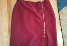 TALBOTS 12WP Burgundy Red Zipper Stretch Lined Skirt Pencil Knee Length GUC