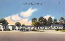 Santee South Carolina Ways Motel Street View Linen Antique Postcard K15186