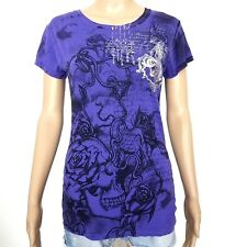 Stranded Medium Scoop Neck Short Sleeve Purple Graphic Silver Foil Fitted Top GC