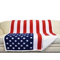 Sherpa Fleece Blanket National Flag Print Patriotic Plush Soft Warm Reversible