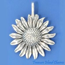 SUNFLOWER DETAILED FLOWER .925 Sterling Silver PENDANT MADE IN USA