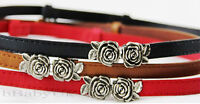 Women's Ladies Fashion Narrow Thin Skinny Low Waist Leather Belt Rose Buckle