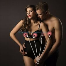 Stainless Steel Long Chain Nipple Clamps 4 Head Breast Clips Adult Game Sex Toys