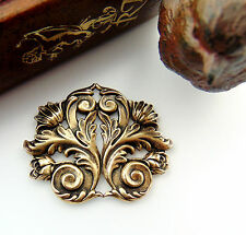 ANTIQUE BRASS FLOURISH SCROLL LEAF Stamping ~ Jewelry Finding (FB-6042)