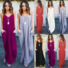 Women Boho Maxi Long Summer Beach Sundress Ladies Sleeveless Kaftan Hippie Dress