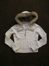Girls Abercrombie & Fitch White Furry Hoodie Pullover Sweatshirt XL Womens XS S