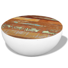 Round Coffee Table Wooden Bowl Shaped Handmade Solid Reclaimed Wood Steel Base