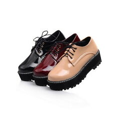 Womens Girls Fashion Leather Flat Creepers Shoes Punk Goth Platform Plus Size 8