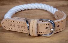 Hound Real Leather Braided Dog Collar Adjustable Cotton Rope Medium Pet Collar