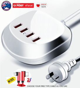 Fast Charging Charger 4 USB FAST CHARGE 3 PORT 2.4A /5V PORT ADAPTER +2.0A CABLE