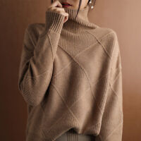 Womens High Collar Sweater Warm Knitted Pullover Jumper Tops Winter Loose Blouse