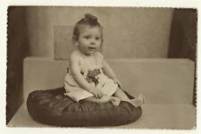 Sweet Baby Girl Sitting On A Pillow (Vintage Real Photo Postcard)