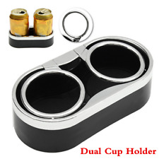 Universal Car Console Dual Cup Holder Drink Bottle Mount w/Adhesive &2 Top Rings