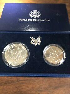 1994 WORLD CUP COMMEMORATIVE D SILVER DOLLAR & CLAD HALF 2 COIN SET!