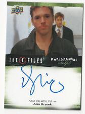 Nicholas Lea The X Files Ufos & Aliens Paranormal Script Autograph Card Auto