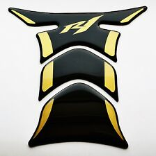 Yamaha YZF R1 R-1 Piano Black + matt Gold tank Protector pad Decal Sticker trim