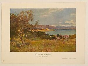 Vintage 1930s Art Book Print - La Cote D'Azur by Sir E A Waterlow R.A.