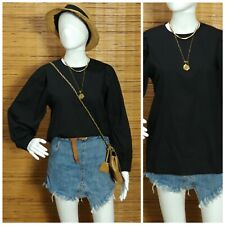 Onyx Black Balloon Sleeve Top M