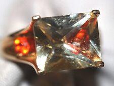 Cocktail Dinner 14k YG Ring 10x12mm Light yellow Citrine 6 Orange stone