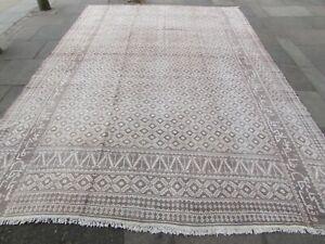 Vintage Traditional Hand Made Oriental Cotton Beige  Kilim Ziloo 437x317cm