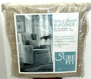 Surefit Wing Chair Slip Cover FLAX Aberdeen Wing Pass Cord  New in Package