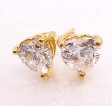 Men Girl Kid 18K Yellow Gold Plated 5mm CZ Cubic Heart Stud Earrings Black Pink