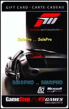 EB GAMES GAMESTOP MICROSOFT FORZA MOTORSPORT 3 RACING RARE COLLECTIBLE GIFT CARD